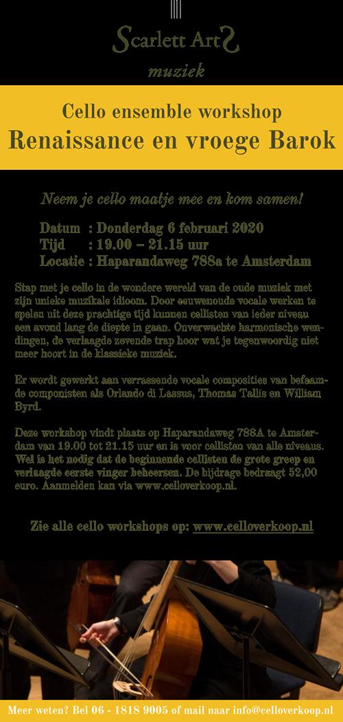 ScarlettArts_Eendaagse cello ensemble workshop_Renaissance en vroege barok_Amsterdam_06022020
